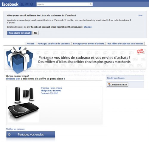 Interface facebook achetezFacile